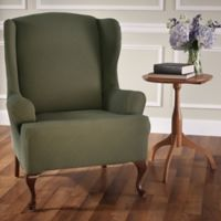 Optic Wing Chair Stretch Slipcover in Sage