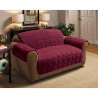 Plush Sofa Protector in Burgundy