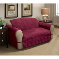 Ultimate Faux Suede Loveseat Protector in Burgundy