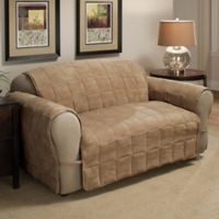 Ultimate Faux Suede Loveseat Protector in Camel
