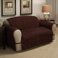 Ultimate Faux Suede Loveseat Protector in Chocolate