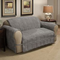 Ultimate Faux Suede Loveseat Protector in Grey