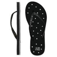 Women's Large Star AquaFlops Shower Shoes in Black
