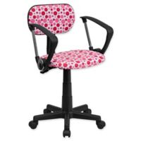 Flash Furniture Dot Print Fabric Task Chair with Arms in Pink