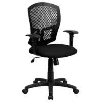 Flash Furniture Designer Mid-Back Fabric Task Arm Chair in Black