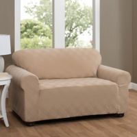Double Diamond Loveseat Stretch Slipcover in Beige