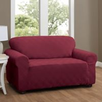 Double Diamond Loveseat Stretch Slipcover in Brick