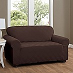 Double Diamond Loveseat Stretch Slipcover in Chocolate