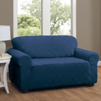 Double Diamond Loveseat Stretch Slipcover in Navy