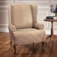 Double Diamond Wingback Chair Stretch Slipcover in Beige