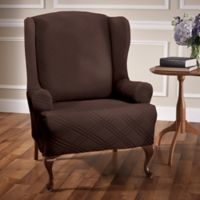 Double Diamond Wingback Chair Stretch Slipcover in Chocolate