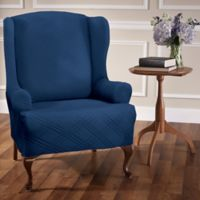 Double Diamond Wingback Chair Stretch Slipcover in Navy