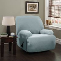 Double Diamond XL Recliner Stretch Slipcover in Spa Blue