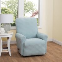 Double Diamond Recliner Stretch Slipcover in Spa Blue