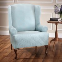 Double Diamond Wingback Chair Stretch Slipcover in Spa Blue