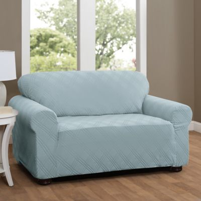 Double Diamond Sofa Stretch Slipcover In Spa Blue