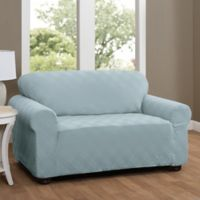 Double Diamond Sofa Stretch Slipcover in Spa Blue