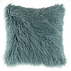 Mongolian Faux Fur Square Throw Pillow in Teal