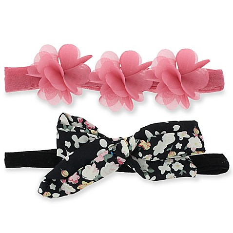 Capelli New York 2-Pack Infant Flower & Bow Headwraps