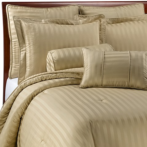 Wamsutta 174 Damask Stripe Wheat Mini Comforter Set 100