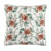 Skyline Tiger Square Throw Pillow in Cream
