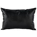 Carrara Faux Leather Oblong Throw Pillow in Black