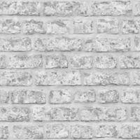 Opera Rustic Brick Wallpaper in Grey