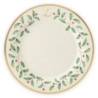 """Lenox® Holiday™ Monogram Letter """"L"""" Dinner Plate"""