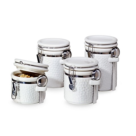 oggi kitchen canisters oggi hammered ceramic 4 canister set white bed 14410