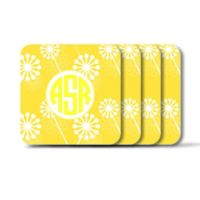 Carved Solutions Elements Square Coasters in Yellow (Set of 4)