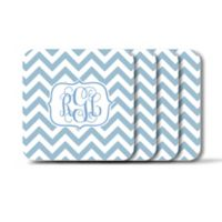 Carved Solutions Chevron Coasters in Blue (Set of 4)