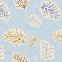 Leaf Motif Cotton Swatch in Blue