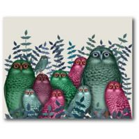 Courtside Market Electric Owls 20-Inch x 16-Inch Canvas Wall Art