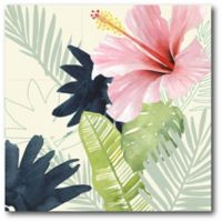 Courtside Market Watercolor Tropical Flower 16-Inch Square Canvas Wall Art