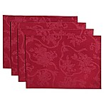 Christmas Ribbons Placemats in Ruby (Set of 4)
