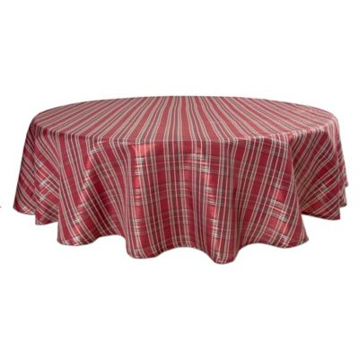 Bardwil Linens Christmas Plaid 70 Inch Round Tablecloth