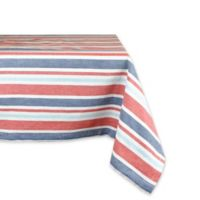 Design Imports Patriotic Stripe 60-Inch x 120-Inch Oblong Tablecloth in Red/Blue