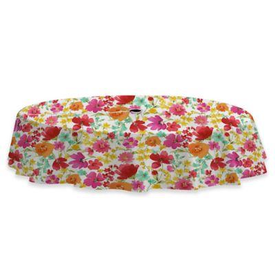 Victoria Gardens 70 Inch Round Umbrella Vinyl Tablecloth