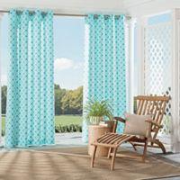 Parasol St. Kitts 84-Inch Indoor/Outdoor Grommet Top Window Curtain Panel in Turquoise