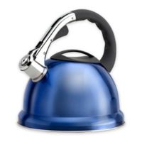 Epicurious 2.85 qt. Stainless Steel Whistling Tea Kettle in Blue