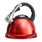 Epicurious 2.85 qt. Stainless Steel Whistling Tea Kettle in Red