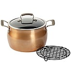 Epicurious Aluminum Nonstick 8 qt. Covered Stock Pot with Meat Rack in Copper