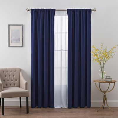SmartBlockTM Chroma 72 Inch Rod Pocket Blackout Window Curtain Panel In Navy