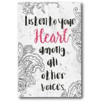 Courtside Market Listen to Heart 12-Inch x 18-Inch Canvas Wall Art
