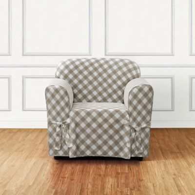 sure fit buffalo check chair slipcover in tan