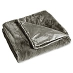 Rabbit Faux Fur Throw Blanket in Grey