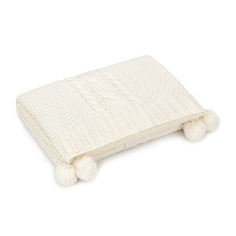 UGG® Brita Pom-Pom Cable Throw Blanket in Cream