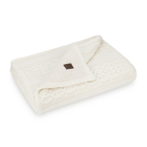 Ugg 174 Aubrey Cable Knit Faux Sherpa Throw Blanket In Cream