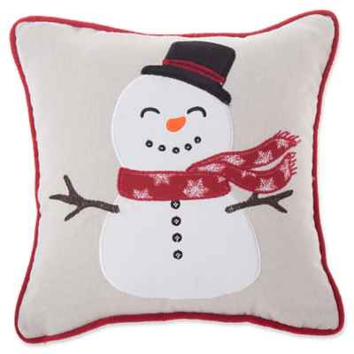 Little Snowman Square Throw Pillow in Natural