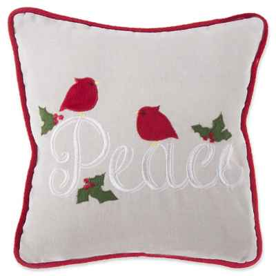 Little Peace Square Throw Pillow in Natural